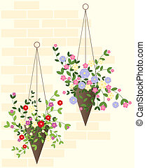 hanging basket - an illustration of two decorative hanging...