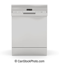 Silver dishwasher isolated on a white background