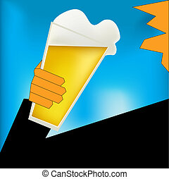 Cheers, Beer Art Deco Style Poster - Background illustration...