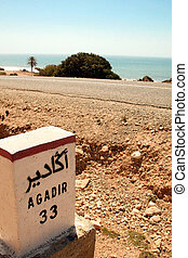 Sign road on the way to Agadir