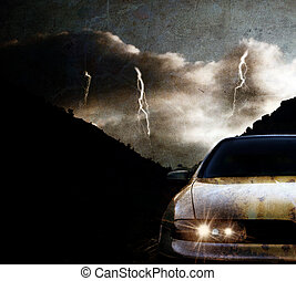 Grungy car at night with thunderstorm