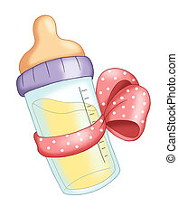 pink baby bottle - illustration of a baby bottle with the...