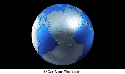 Planet Earth Globe Loop Blue Black - A seamless loop of a...