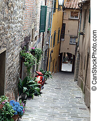 lovely, steep and narrow streets of Cortona Tuscany