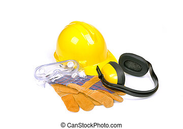 protective equipment on white - hard hat, goggles, gloves...