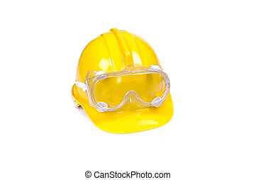 protective equipment isolated - hard hat and goggles...