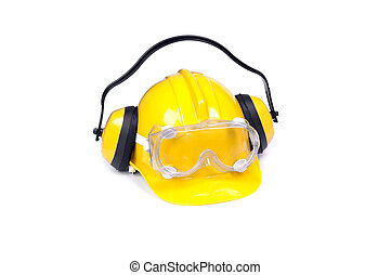 protective equipment - hard hat, goggles and ear muffs...