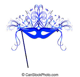 Mardi Gras Mask - A highly decorated mask in tones of blue