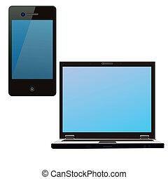 Smartphone and notebook isolated on white background