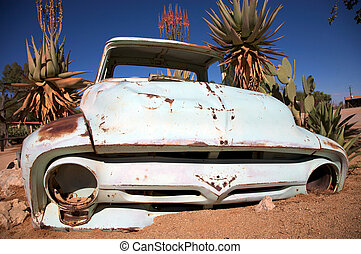 crashed car in the desert - Car wreck in Solitaire, Namibia