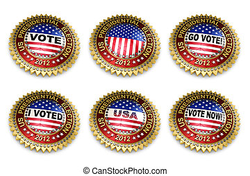 Presidential Election 2012 Buttons - Set of six 2012 US...
