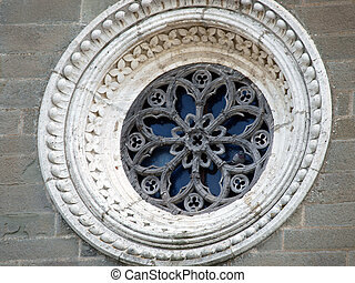 Rose window on the facade of the church of St Margaret of...