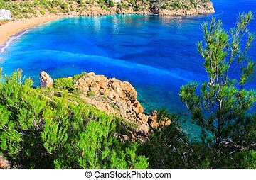 Beautiful small bay in Ibiza Spain HDR image