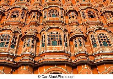 Hawa Mahal, the Palace of Winds, Jaipur, Rajasthan, India....