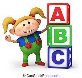 girl with ABC blocks - cute little cartoon girl with stack...