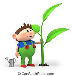boy watering sprout - cute little cartoon boy watering...