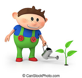 boy watering sprout - cute little cartoon boy watering...