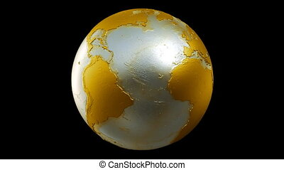 Planet Earth Globe Loop Gold Black - A seamless loop of a...