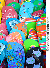 Coloured flip flop - Flip flop with different colors on a...