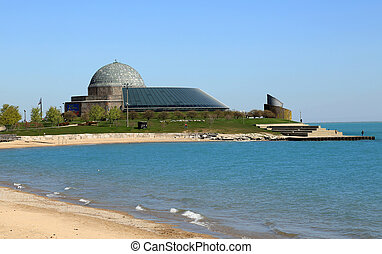 Adler Planetarium and beautiful Lake Michican, in Chicago