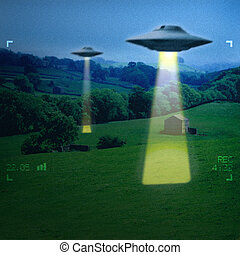 UFO in a meadow early in the morning