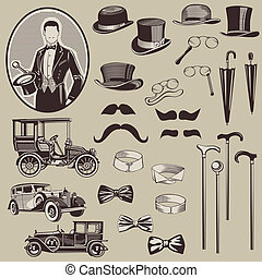 Gentlemens Accessories and Old Cars - vector set- High...