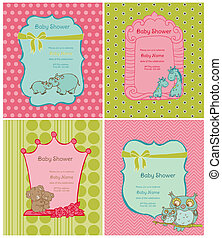 Set of Baby Shower Cards with place for your text in vector