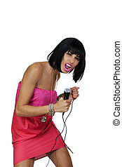 Skinny Attractive Black Woman Screaming into Microphone