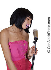 Attractive Skinny Black Woman Singing Condenser Microphone