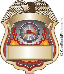 Firefighter Shield II - Illustration of a firefighter or...
