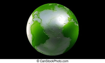 Planet Earth Globe Loop Green Black - A seamless loop of a...