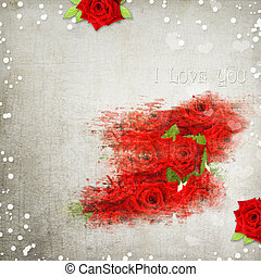 retro background with hearts, text I love you, red roses