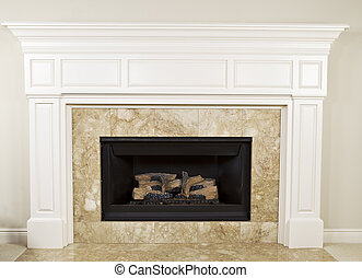 Natural Gas Fireplace - Natural gas insert fireplace with...