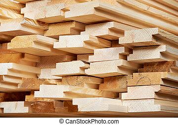Set of wood lumber materials