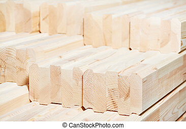 Set of wood lumber materials - Set of Stacked wood pine...