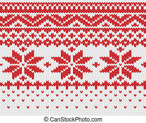 Seamless knitted background - Red snowflake seamless knitted...