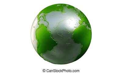 Planet Earth Globe Loop Green White - A seamless loop of a...