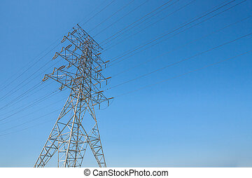 Hydro Towers - A single hydro towers stands tall against a...