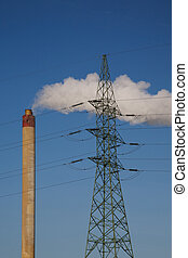 Incineration plant in Brussels, Belgium. Blue and clear sky...