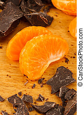 Chocolate and Orange Wedges - Two Mandarin Orange wedges...
