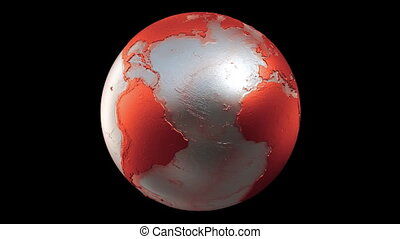 Planet Earth Globe Loop Red Black - A seamless loop of a...