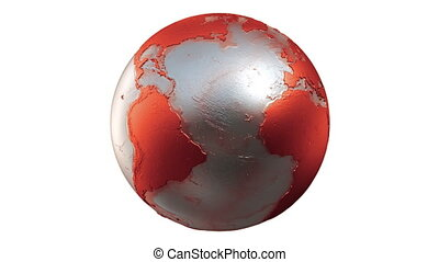 Planet Earth Globe Loop Red White - A seamless loop of a...