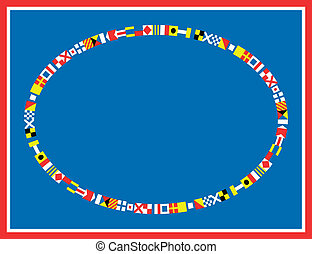 EPS8 Vector Nautical Flag Border - EPS8 Vector oval red,...