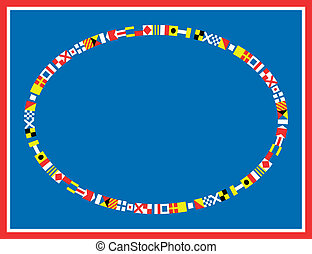 Nautical Flag Border - oval red, white and blue nautical...
