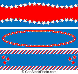 3 Red White Blue Star S - 3 Red, White and blue patriotic...