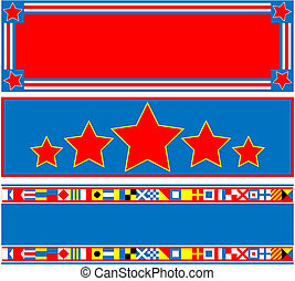 3 Red White Blue Banner - 3 red, white and blue headers with...