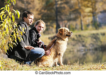 Young family with dog