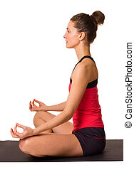 young woman doing yoga isolated on a white background.