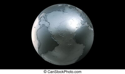 Planet Earth Globe Loop Silver - A seamless loop of a...