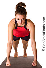 young woman doing press ups.